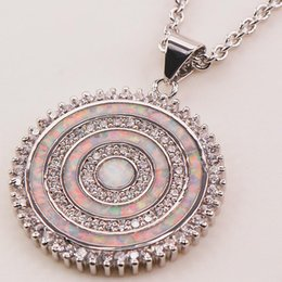 Wholesale Fire Opal Necklace Sterling - Wholesale-White Fire Opal 925 Sterling Silver Fashion Jewelry Pendant P146