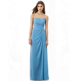 Wholesale Dresse Blue - Top Selling Bridesmaid Dress Strapless Floor Length Chiffon Prom Dresse WB2412
