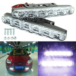 Wholesale Xenon Lamps Yellow - L1092x Xenon White 6 LED Super Bright DRL Daytime Running Driving Lights Fog Lamps