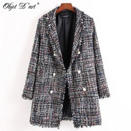 Wholesale Patch Suit Design - Wholesale- 2017 Autumn Winter Long Jacket Vintage White Black Suit Collar Coat Fashion Woolen Women Warm Jacket High Quality Manteau Femme