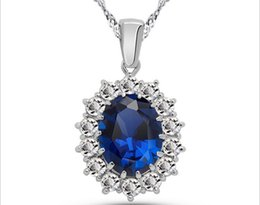 Wholesale Prince Gift Set - Prince William Princess Kate wedding tanzanite sapphire ring ear clip Necklace Set - Love Stone