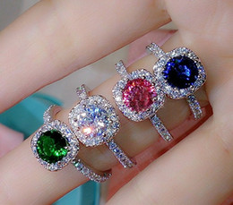 Wholesale 925 Silve - Women's 925 Silve Filled Ruby Emerald Sapphire with CZ Side Stone Ring Size 5,6,7,8,9,10,11 Brand Jewelry
