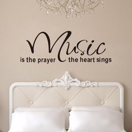 Wholesale Music Vinyl Wall Art - Quote Wall Decals New Designs Music Is The Prayer The Heart Removable Vinyl Wall Stickers Home Decor 8197 Wall Art