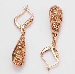 Wholesale Low Price Dangle Earrings - 1pair Water Drop Earrings Fashion Rose Gold Colors filled Earrings for women High Qulity Factory Direct Low Price Whosale and Retail
