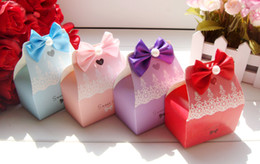 Wholesale Boxes For Sweets - 50pcs Sweet Love Candy Box With Bow-knot Gift Boxes Wedding Favours 4 Colors for Choose New