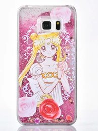 Wholesale Transparent Sailor - For Iphone 4 5 6 Plus Samsung Note5 S6 edge plus Horse girl sailor moon Liquid Moving Glitter Bling Quicksand Transparent Case Cover