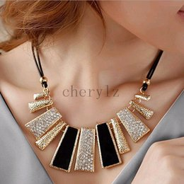 Wholesale Enamel Gold Jewellery - New Fashion Design Ladies Jewellery Pretty Enamel Bib Leather Braided Rope Necklaces Good Quality 1PC Selling C1433