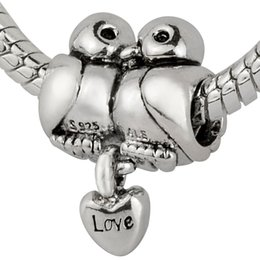 Wholesale Pandora Love Birds - 2015 New Love Birds Charm 925 Sterling Silver European Charm Bead Compatible With Pandora Snake Chain Bracelet Women Jewelry