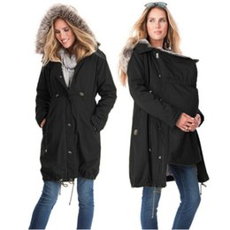 Wholesale Long Maternity Winter Coats - Fashion Maternity Clothings Winter Jackets Kangaroo Carrier Jacket Mother Fur Coat Patchwork Pregnant Woman Outwear Clothes