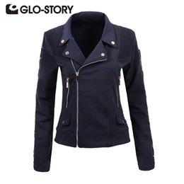 Wholesale Natural White Story - GLO-STORY Women Jackets Autumn winter 2017 New Cool Fashion Long Sleeve Turn-down Collar Slim Female Zipper Coat Jackets 4293