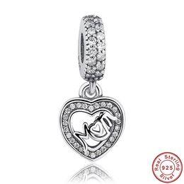 Argentina 925 Sterling Silver Charms Beads Colgante s925 Silver Heart colgante adapta encantos del collar pulseras joyería DIY de calidad superior Suministro