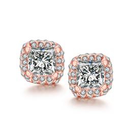 Wholesale Pearl Jade Flower Earrings - Big Zirconia Styles stud earrings 18k rose golden e041 gift Free 2016 Fashion New Jewelry Brincos de Prata