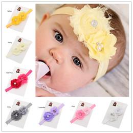Wholesale Head Ribbons For Baby Girls - 32pcs Flower Hair bow headband Newborn baby Photo Prop Headbands hair flower hair accessories for baby girl Cheap Head Wear