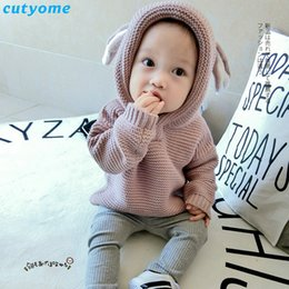Wholesale Infant Cardigan Sweaters - Wholesale- Baby Children Sweater Clothing Cotton Hooded Knitted Cardigan Pullover Kids Spring Autumn Winter Infant Boys Girls Outer Wear