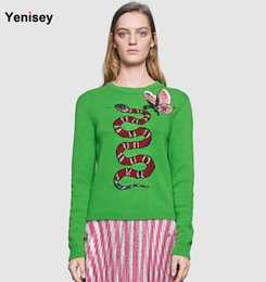 Wholesale Butterfly Sweater Pattern - Wholesale- Big European embroidery butterfly snake pattern green sweater coat 16 women with early autumn Street star sweater 0724 stock