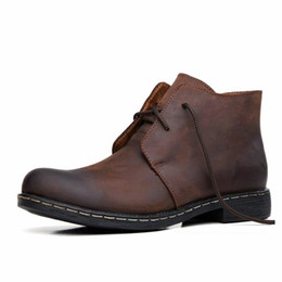 Wholesale Cowhide Top Boots - Fashion New mens military boots Autumn Leather High Top Lace Up Brogue Cowhide Ankle Motorcycle For women with tassels PU