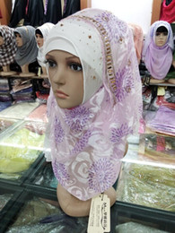 Wholesale Beaded Floral Veils - 2015 New Fashion Muslim Scarf Wedding Hair Accessories Crystal Beaded Floral Veils Long Arabic Style headpieces