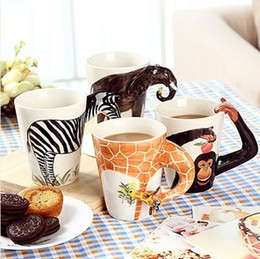 Wholesale Deer Giraffe - Homee 3D Ceramic Coffee Mug, Hand Painted Cup 10 Styles, Giraffe,Elephant, Zebra, Chimpanzee, Deer, Camel, Horse, Samoye, Burmese, Chihuahua