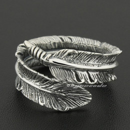 Wholesale 925 Silver Feather Ring - Size Adjustable 925 Sterling Silver Feather Mens Rocker Ring 8S012A US 7.5~10.5 Free Shipping
