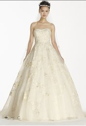 Wholesale Organza Tiered Skirt Wedding Dress - 2016 EXTRA LENGTH Oleg Cassini Organza Ball Gown Wedding Dresses Allover beaded Lace applique with Strapless detail 4XLCWG700 Bridal Gowns