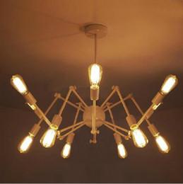 Wholesale Antique Wrought Iron Chandeliers - Vintage Spider Chandelier Wrought Iron Pendant Light Loft American Style Lighting 12 16 lamps Edison Bulbs Antique Pendent Light Chandeliers