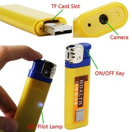Wholesale Portable Spy Cameras - 1pcs Yellow&blue Mini DV lighter Camera mini video camera Lighter Spy Cameras portable Video And Photo Recording video support for