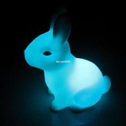 Wholesale Rabbit Lamps - 10PCS Free Shipping Color Changing Rabbit Shape LED Night Lamp Light Wedding Party Bedroom Decor