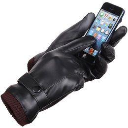 Wholesale wholesale black gloves - Five Fingers Glove Thickened Washable 360 Degree Touch Screen Gloves Black PU Winter Keep Warm Supplies For Men And Women 14yf B