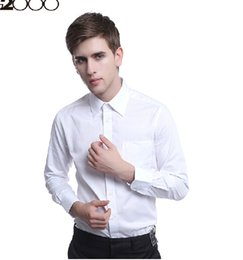 Wholesale White Ruffled Shirt Men - Wholesale-Handsome men long sleeve summer thin shirt pure color without ruffle party wear shirts