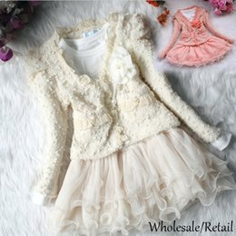 Wholesale Jacket Skirt Baby Girls - Kids Baby Girls Winter Dress Beads Lace Coat Jacket 2Pcs Set Party Princess Clothing Tulle Tutu Dress Mesh Skirt T-shirt Pink Beige SV010612