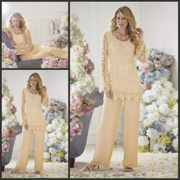 Wholesale Cheap Bridal Pant Suit - Two Piece Lace Mother Pant Suits For Wedding Mother of the Bride Pant Suits Chiffon Long Sleeve Groom Mother Clothes Cheap Bridal Party