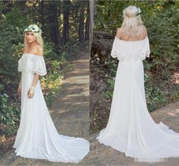 Wholesale Custom Hippie Wedding Dress - 2018 New Arrival Lace Chiffon Bohemian Wedding Dresses Off Shoulder Plus Size Cheap Beach Boho Hippie Sweep Train Bridal Wedding Gowns