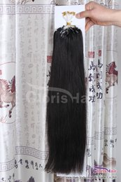 """Wholesale micro hair extensions 1b - Premium 50g #1b Natural Black Silky Straight Brazilian Remy Micro Ring Loop Bead Human Hair Extensions 0.5g s,18"""" 20"""" 22"""" Available"""