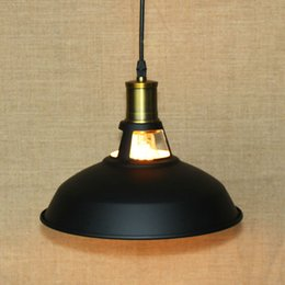 Wholesale 15 lamp shade - Fuloon Vintage Industrial Ceiling Light 1 Light Metal Shade Loft Coffee Bar Kitchen Hanging Pendant Llight Lamp Shade Black&White
