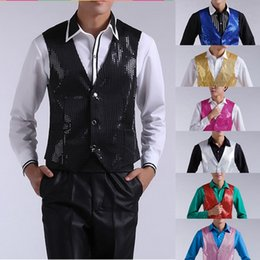 Wholesale Mens Stage Clothing - New Mens Fashion Sequins Slim Waistcoat Stage Performances Vest Sleeveless Jacket Stage Show Clothes For Mens 7 Color
