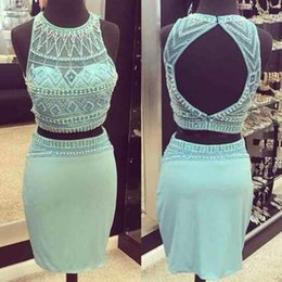 Wholesale Turquoise Short Homecoming Dresses - Short Two Pieces Turquoise Homecoming Dresses 2016 Sheer Jewel Neck Beading Backless Sexy Club Dress Mini Teens Formal Party Prom Gowns