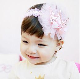 Wholesale Big Glitter Bows - Glitter felt baby kids girls hair band infant sequins crown Bows headband Boutique children big gauze flower elastic headwear R1029
