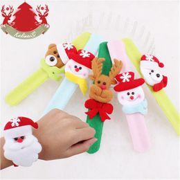Wholesale Red Slap Bracelets - 60Pcs Lot Christmas Slap Bracelets Santa Claus Snowman Slap Pat Circle Hand Ring Wristband Xmas Decorations Ornament For Children Gifts