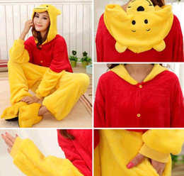 Wholesale S Pajamas - Winnie the pooh jumpsuits Halloween Costume Winter Winnie The Pooh Kigurumi Pajamas Animal Suits Cosplay Outfit Adult Animal Sleepwear