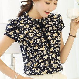 8ce350f8664 Wholesale- 2017 Summer Floral Print Chiffon Blouse Ruffled Collar Bow Neck  Shirt Petal Short Sleeve Chiffon Tops Plus Size Blusas Femininas