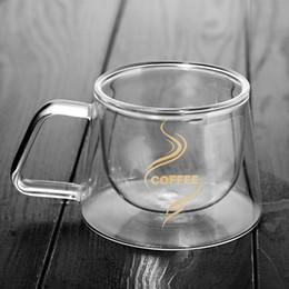 Tazza a doppia parete Tazze da ufficio Isolamento termico Doppio caffè Tazza da caffè Tazza di vetro Drinkware Latte Drophipping 2019 da