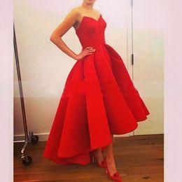 Wholesale Evening Dresses Blue Real Sample - Long Red Ball Gown Evening Dress 2015 Real Sample Sweetheart Satin Formal Evening Gowns Short Front Long Back Prom Evening Dress