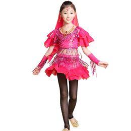 Wholesale Kids Veil Costume - 2015 Promotion KIDS Girls Belly Latin Dance Halloween Costumes Set 4PCS Top&Veil&Skirt&Gloves Professional Children Dresses