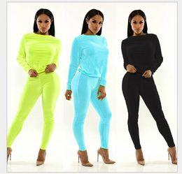 Wholesale Slash Leggings - New 2015 Women Clothing 2 Piece Set Sexy fashion leisure jumpsuits women's clothing Sweatshirt and Leggings Sportsuit Tracksuit free ship