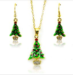 Wholesale Cheap Christmas Tree Gifts - Hot Fashion Christmas Jewelry Set Gold Plated Elegant Christmas Tree For Women Earrings Necklace Set Ear hook + Sautoir Cheap Wholesale