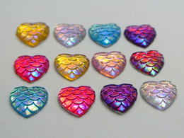 Wholesale Flatback Resin Cabochon - 100 Mixed Colour AB Flatback Resin Fish Scale Pattern Heart Cabochon 12mm