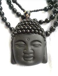 Ornamento de buddha do jade on-line-Natural Obsidian Colar Moda Preto Ruyi Buda Pingente Para Mulheres Homens Jade Vintage Fine Jade Ornamentos D2