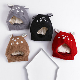 Wholesale Bear Beanie Babies - Baby Crochet Hat Winter Beanies Kid Bucket Hats Designer Korean Fashion Grey Pink Bear Ears Warm For 6M to18M