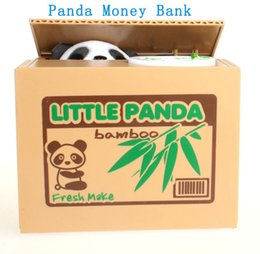 Wholesale Cute Piggies - New Cute Delicate Lovely Stealing Coins Panda Cent Penny Saving Money Box Pot Case Piggy Bank Gift For Kids MB5002