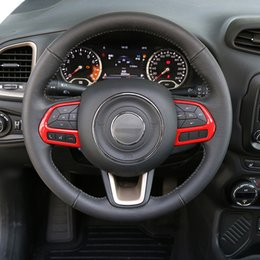 Wholesale Steer Cover - ABS Steering Wheel Button Decoration Covers Trim Fit For Jeep Renegade 2015-2016 Car Interior Accessories Styling